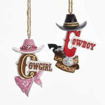 Cowboy & Cowgirl w/Hat Ornaments - $10.95