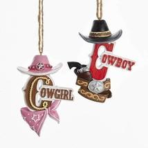 Cowboy & Cowgirl w/Hat Ornaments - $10.95