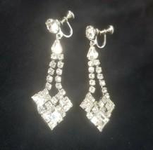 """VTG 1950's Rhinestone Dangle Fancy Chandelier Earings, 2.5"""" Long, Screwb... - $8.42"""