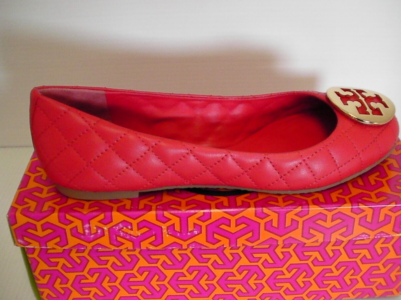 women's tory burch flats carnival/gold mestico/metal logo size 8.5 us new