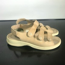 ECCO Three Strap Slingback Sandals 41 US 10-10.5 Women Tan Suede - $26.73
