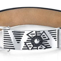 Urban Style Black Genuine Leather & Stainless Steel Bracelet image 2