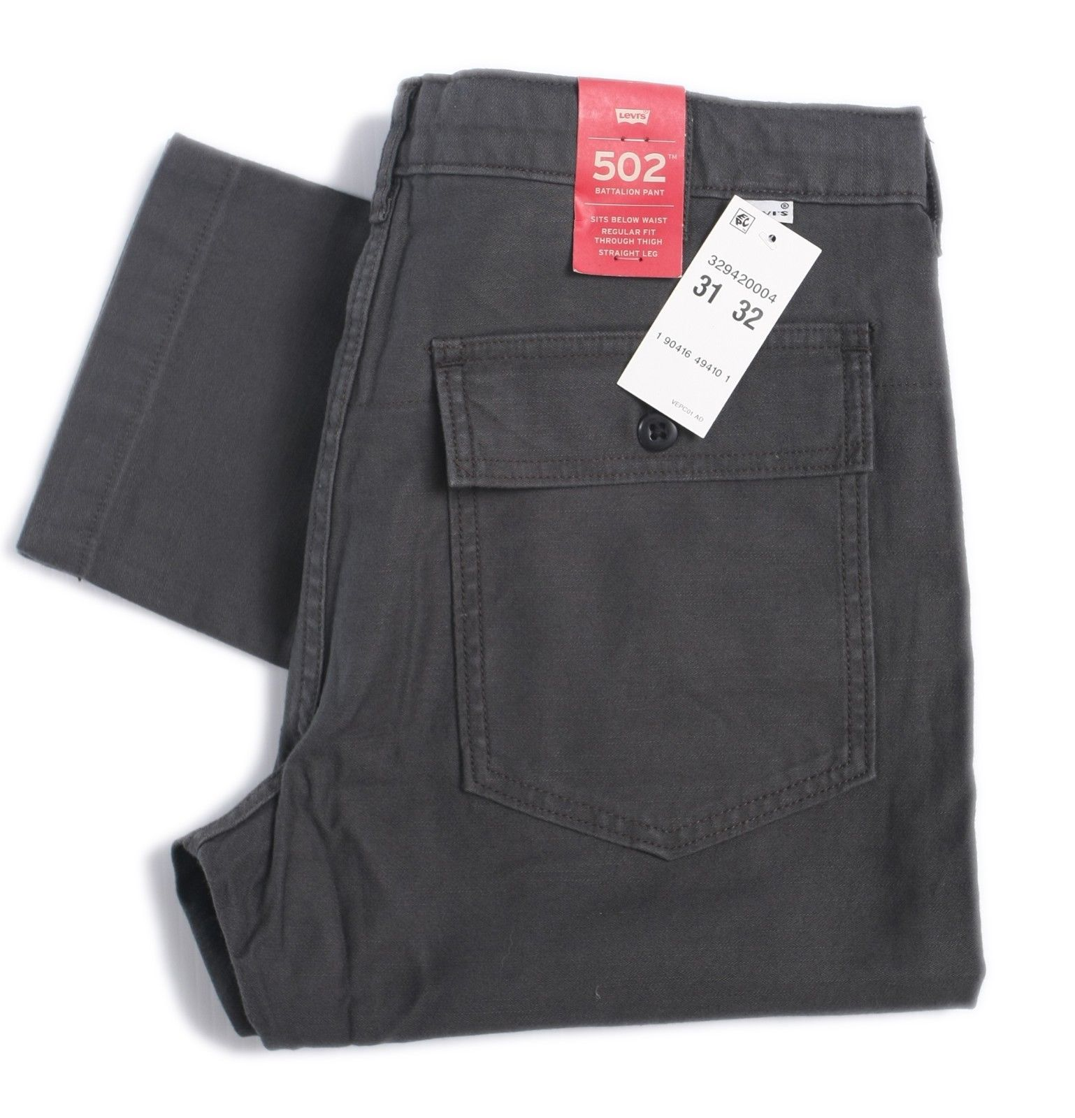 Levis Mens 502 Battalion Pant Regular Fit Straight Leg Pockets Black 329420004