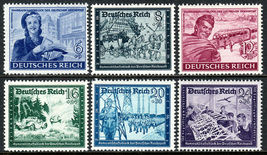 1944 WWII Postal Employees Set of 6 Germany Postage Stamps Catalog B272-77 MNH