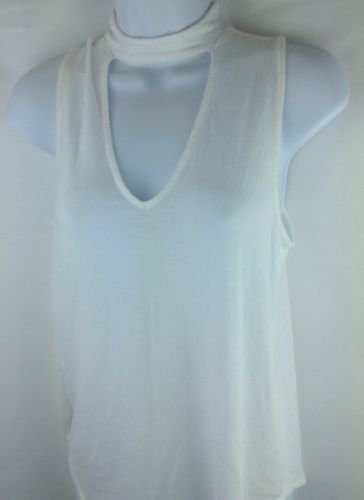 Express Womens Keyhole White Top high neck Blouse Size Small image 2