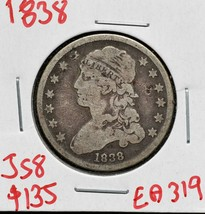 1838Capped Bust Silver 25¢ Quarter Coin Lot# EA 319