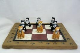 Cat figurine Tic Tac Toe 9 Piece Set Black Orange - $8.58