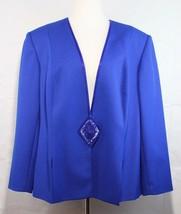 Maggie Barnes Vintage women's blazer jacket blue sequined one button siz... - $23.99