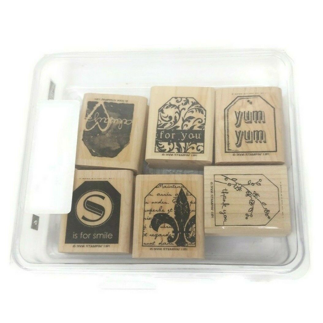 2006 Stampin' Up Wooden Rubber Stamps LOT x6 Too Terrific Tags Scrapbook - $17.81