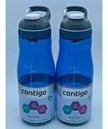 Lot Of 2 Contigo Autoseal Cortland Water Bottle 32oz Monaco Blue Plastic... - $43.55