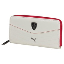 NEW PUMA FERRARI PREMIUM UNISEX ZIP AROUND COIN ORGANIZER ID WALLET WHITE 073944