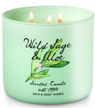 Bath & Body Works Wild Sage & Aloe Three Wick 14.5 Ounces Scented Candle - $20.53