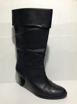 ci Ann Taylor Loft Black Leather High Heel Calf High Boots Size 9.5 M - $31.34