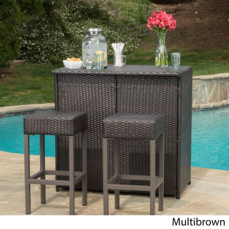 Primary image for Wicker Patio Bar Set Patio 3 Pc Island Garden Furniture