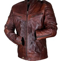 Cafe Racer Vintage Motorcycle Distressed Brown Biker Quilted Leather Jacket image 2