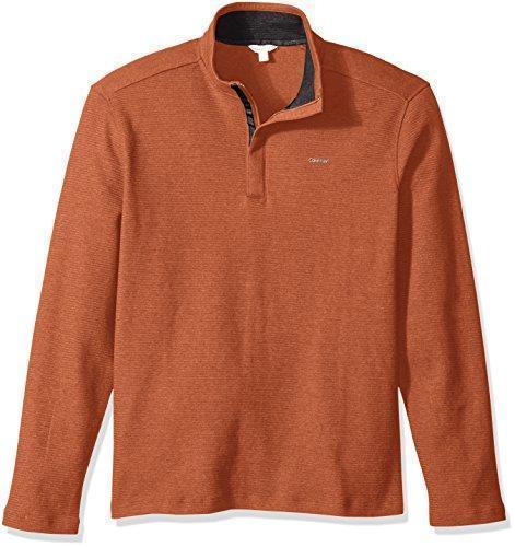 Calvin Klein Men's Long Sleeve Solid Mock Neck Pullover, X-Large,  Deep Pumpkin