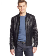 Calvin Klein Faux-Leather Moto Jacket Officer Navy Size S - $83.99