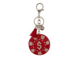 Red Poker Chip Faux Suede Tassel Stuffed Pillow Key Chain Handbag Charm - $12.95