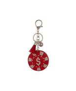 Red Poker Chip Faux Suede Tassel Stuffed Pillow Key Chain Handbag Charm - $12.95