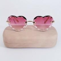 CHLOE ROSIE CE150S Gold/Coral Pink Scalloped Heart Women's Sunglasses 55mm  - $210.38