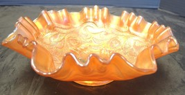 Fenton Heart & Vine Marigold Carnival Glass Ruffled Bowl - $37.99