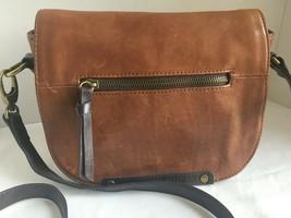 Tignanello Burnished Caramel Brown Glazed Leather Saddle Bag Purse Cross... - $34.00