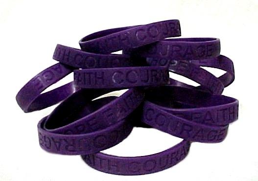 Pancreatic Cancer Lot of 12 Purple Awareness Bracelets Silicone Wristband New
