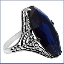 Antique Sterling Silver Prong Set Stunning Sapphire Blue Oval Cut Gemstone Ring