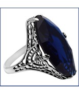Antique Sterling Silver Prong Set Stunning Sapphire Blue Oval Cut Gemsto... - $97.95