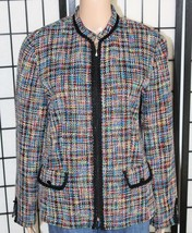 SAG HARBOR Women's Size 12 Colorful Fully Lined Zip Front Tweed Jacket C... - $26.11