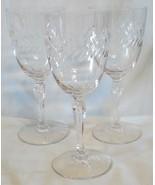 Tiffin Royalty 17372 Stem Laurel Cut Water Goblet set of 3 - $39.49