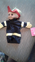 "Russ Troll Fireman Hand Puppet Doll vtg Yellow hair 10"" Luv Pet Engine 1... - $2.99"