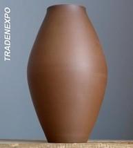 Vintage 1950's SIERSHAHN Brown Vase West German Pottery Sgrafitto Fat La... - $19.79