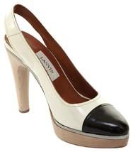 LANVIN Pump Sandal Slingback Platform Cream Brown Silver Patent Leather 40 - $166.25
