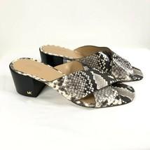 Michael Kors Abbott Slide Sandals Block Heel Square Toe Leather Snake Gr... - $48.37