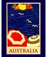 11x14 art print-Travel to Australia, tourism, retro satin canvas - $17.49