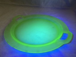 "10.5"" Frosted Vintage Green Uranium Vaseline Glass Cake Plate Platter Ha... - $52.80"