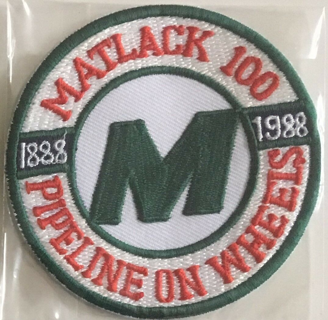 """M"" Matlack Pipe Line on Wheels 100 yrs 1888-1988 driver patch 4 in dia #1104"