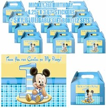 Baby Mickey Mouse 1st Party Favor Boxes Thank you Decals Stickers Loots ... - $24.70