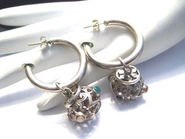 Vintage Sterling Silver Hoop Earrings with Removable Dangle Charm 2 in 1... - €72,43 EUR