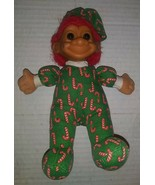 Russ Sitting Troll Candy Cane Christmas PJ's #2385 Soft Body Doll Green ... - $7.42