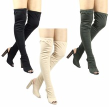 Cape Robbin Connie-1 Over the Knee back Cut Out Thigh High Open Toe Lycr... - £29.98 GBP