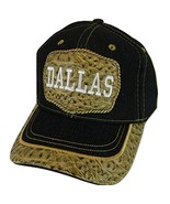 Dallas Adult Size Patch Style Black Denim Adjustable Baseball Cap (Brown) - $12.95