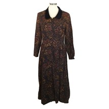 Laura Ashley Vtg Dress Paisley Button Front Velvet Collar Autumn Winter 10 - $48.51
