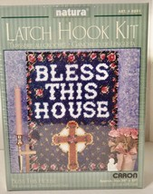 """New """"Bless This House"""" Caron Natura Latch Hook Kit 20"""" x 27"""" Cross Religious - $17.81"""