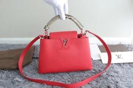 100% Authentic Louis Vuitton CAPUCINES MM Bag Red Taurillon Python image 6