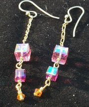 "pink crystal dangle earrings, 2"" dangle, excellent condition barely worn - $14.85"