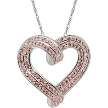 Brilliance Fine Jewelry Sterling Silver Heart Pendant made with Crystals... - $47.99