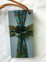 Blue & Green Batik Cross on Stained Blue Pine Wood - $18.50