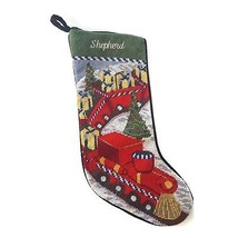 Lands End Needlepoint Christmas Stocking SHEPHERD Monogrammed Toy Train New - $24.70